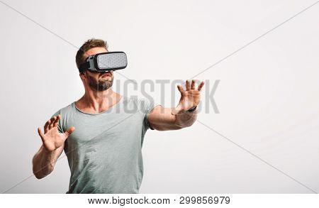 Man enjoying vr headset. Modern technology, virtual reality fun