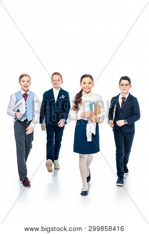 schoolchildren pretending to be businesspeople with books and newspaper walking On White poster