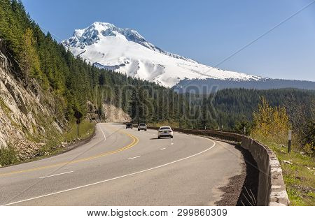 Driving On Hwy-26 To Mt. Hood Oregon State.