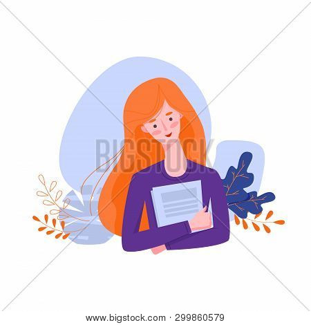 Flat Style Student Young Girl Holding Notebooks. Education Concept. Vector Illustration With Flowers