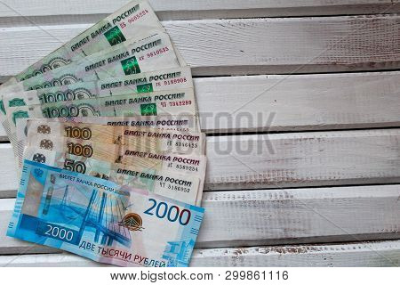 Banknotes, Russian Ruble, Bank Of Russia Ticket, Banknotes Of Different Denominations, Two Thousand