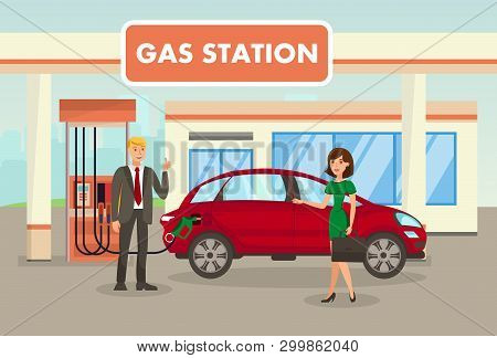 Petrol, Filling, Gas Station Vector Illustration. Man Refueling Car And Woman With Suitcase Cartoon