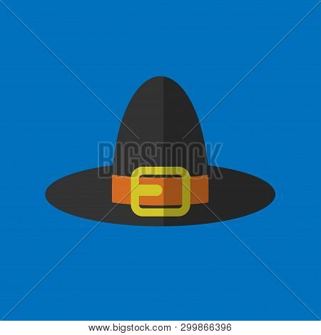Pilgrim Hat. Eps10 Vector Illustration On Blue Background