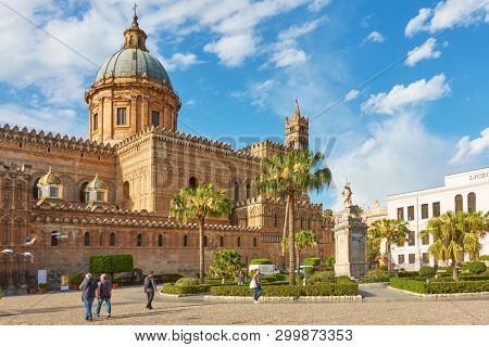 Palermo, Italy - March 18, 2019: The Metropolitan Cathedral of the Assumption of Virgin Mary (Palermo Cathedral) in Palermo