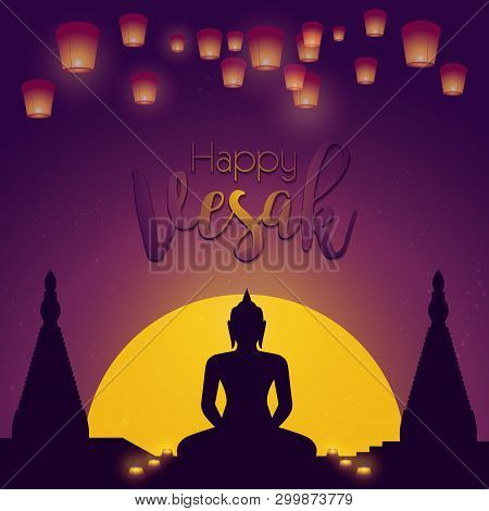 Vesak Day Card. Vector Illustration With Lamps And Buddhas Silhouette.