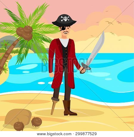 Cheerful Pirate Capitan Flat Color Illustration. Corsair In Coat And Hat With Crossbones Cartoon Cha