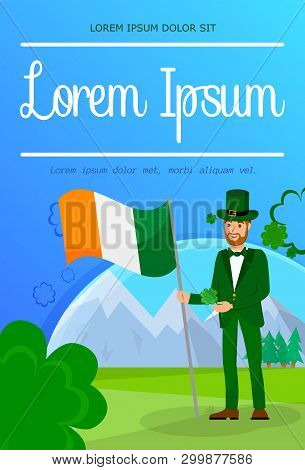 Vacation In Ireland, Travel Postcard Template. Irishman In Traditional Clothes Cartoon Character. Gu
