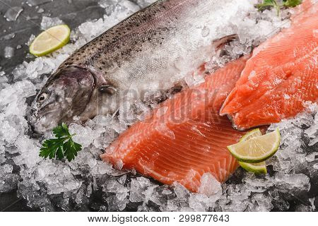 Fresh Raw Trout Fish Steak And Whole Fish With Spices On Ice Over Dark Stone Background. Creative La
