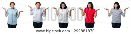 Young african american woman with afro hair over isolated background clueless and confused expression with arms and hands raised. Doubt concept.