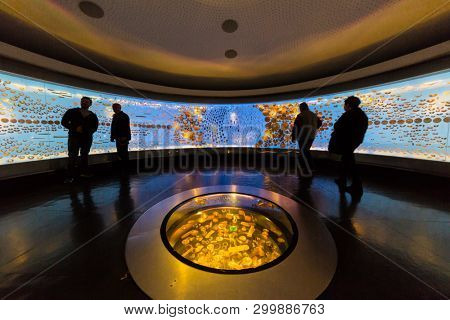Bogota , Colombia  - February 24, 2017 : Museo del Oro gold museum in Bogota capital city of Colombia South America