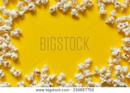 Popcorn Texture Top View With Space For Text. Pattern Of Popcorn Close Up, Background