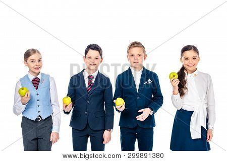 smiling schoolchildren pretending to be businesspeople with apples Isolated On White poster