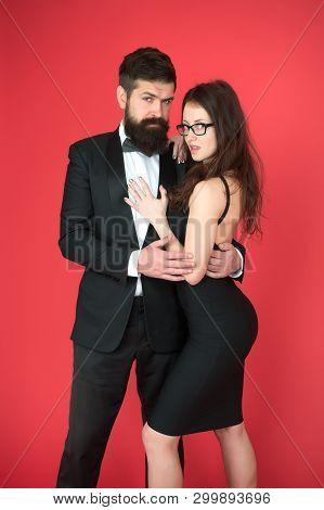 Elegance Is Not About Being Noticed. Bearded Man Wear Suit Girl Elegant Dress. Formal Dress Code. Vi