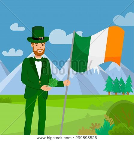 Saint Patrick Day Flat Color Vector Illustration. Red Bearded Guy Cartoon Character. Mountains Lands