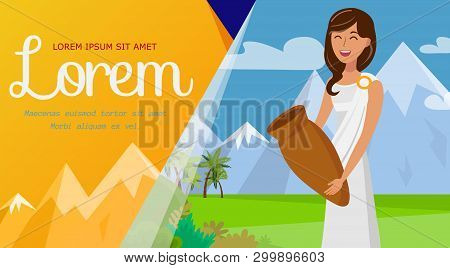 Travel To Greece, Tourism Agency Banner Template. Young Greek Woman In Tunic, Toga Cartoon Character