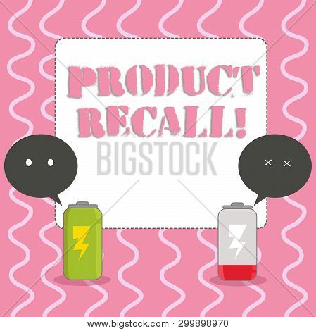 Text sign showing Product Recall. Conceptual photo process of retrieving potentially unsafe goods from consumers Fully Charged and Discharged Battery with Two Colorful Emoji Speech Bubble. poster