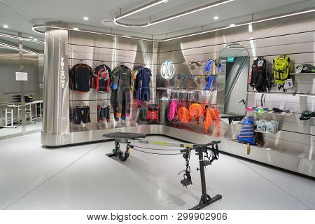 SINGAPORE - CIRCA APRIL, 2019: interior shot of Durasport store in Jewel Changi Airport. Durasport is a premium, multi-brand concept sports retailer.