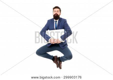 Life Balance Concept. Inspiring Innovations. Businessman Inspired Guy Feel Peaceful. Man Peaceful Ho