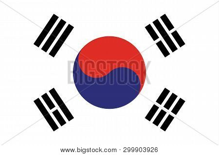 South Korea Flag Vector Eps10. Flag Of South Korea. South Korea Flag Made With Official Korean Natio