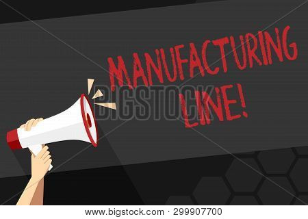 Text sign showing Manufacturing Line. Conceptual photo set of sequential operations established in a factory Human Hand Holding Tightly a Megaphone with Sound Icon and Blank Text Space. poster