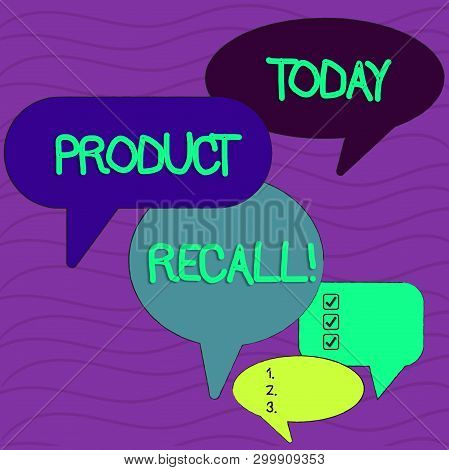 Conceptual hand writing showing Product Recall. Business photo text process of retrieving potentially unsafe goods from consumers Speech Bubble in Different Sizes and Shade Group Discussion. poster