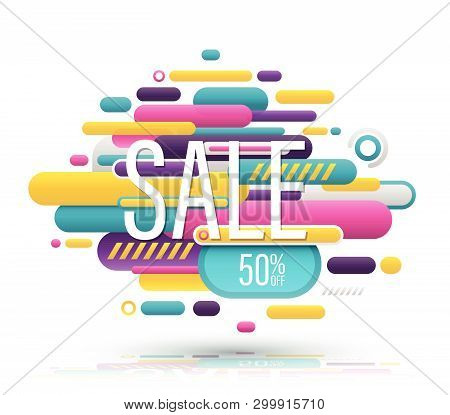 Sale Banner Abstract Modern Funny Style. Vector Illustration.