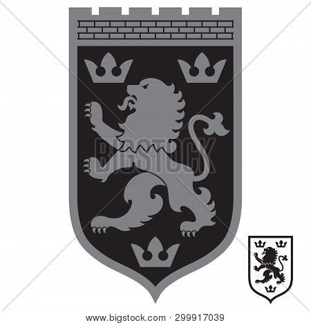 Heraldic Coat Of Arms. Heraldic Lion And Three Crowns On The Knights Shield