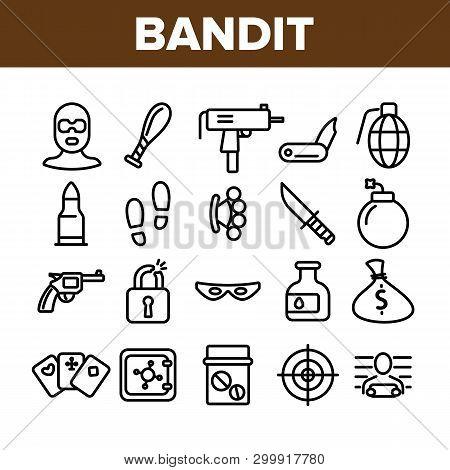 Criminal Acts, Bandit Thin Line Icons Set. Bandit Crimes Linear Illustrations Collection. Theft, Abu