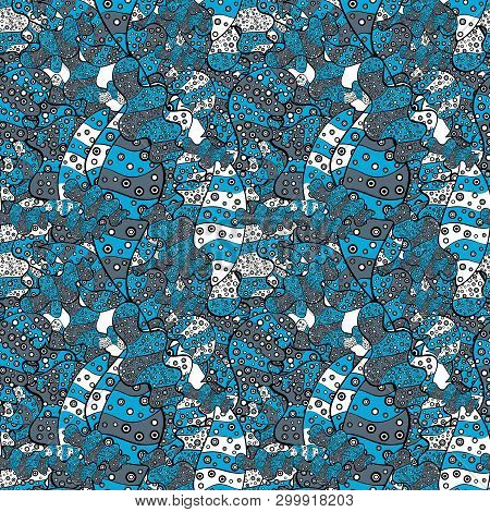 Seamless Sketch Nice Background. Doodles Blue, Black And Neutral On Colors. Abstract Pattern For Wra