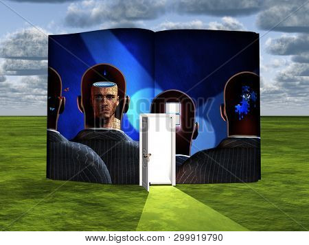 Surrealism. Book with opened door and thoughts in men's heads. 3D rendering