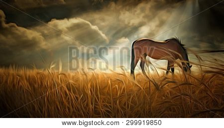 Oil painting. Serenity. Horse grazes on the field. Sunbeams and dramatic clouds. 3D rendering