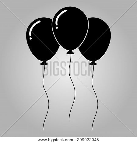 Silhouette Ballons  Icon   Flat Design Style,. Happy Birthday, Holidays, Party Concept, Trendy Vecto