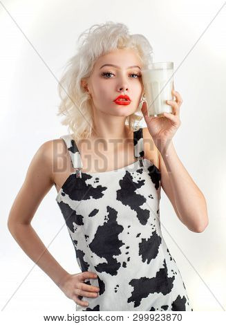 Milk Is Great For Her Health. Sensual Woman Consuming Vitamins In Milk Beneficial For Her Health. Fo