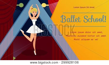 Ballet School, Dancing Classes Web Banner Template. Graceful Ballerina In Pointe Shoes And White Dre