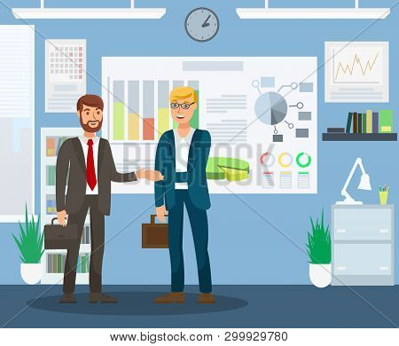 Resultative Job Interview Flat Color Illustration. Employer And Candidate In Formal Clothes Cartoon