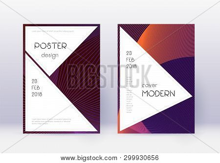 Stylish cover design template set. Violet abstract lines on dark background. Fascinating cover design. Memorable catalog, poster, book template etc. poster