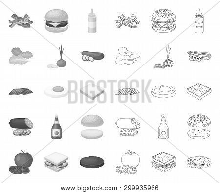 Burger And Ingredients Mono, Outline Icons In Set Collection For Design. Burger Cooking Vector Symbo
