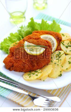Wiener Schnitzel, breaded with potato salad