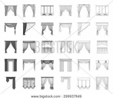 Different Kinds Of Curtains Mono, Outline Icons In Set Collection For Design. Curtains And Lambrequi