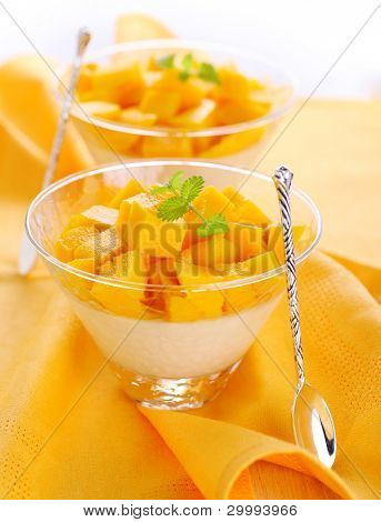 Fruit dessert with mango