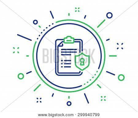 Checklist Line Icon. Privacy Policy Document Sign. Quality Design Elements. Technology Privacy Polic