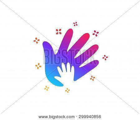 Hand Icon. Social Responsibility Sign. Honesty, Collaboration Symbol. Dynamic Shapes. Gradient Desig