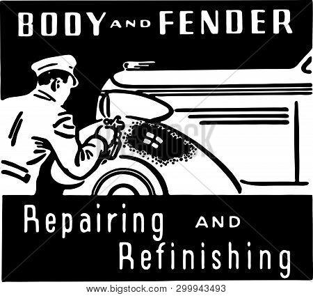 Body And Fender Repairing - Retro Ad Art Banner