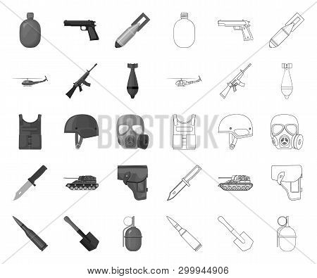 Army And Armament Mono, Outline Icons In Set Collection For Design. Weapons And Equipment Vector Sym