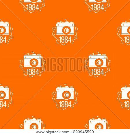 1984 Photo Camera Pattern Vector Orange For Any Web Design Best