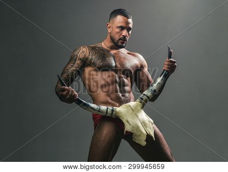 Desire Is The Energy Force. Sexy Latino Man Showing His Sexual Desire And Attraction. Muscular Hispa