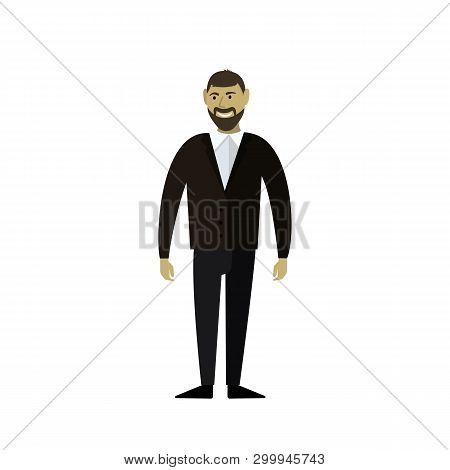 The Man In The Suit. The Businessman Smiles. Businessperson. Vector Illustration.