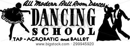 Dancing School - Retro Ad Art Banner