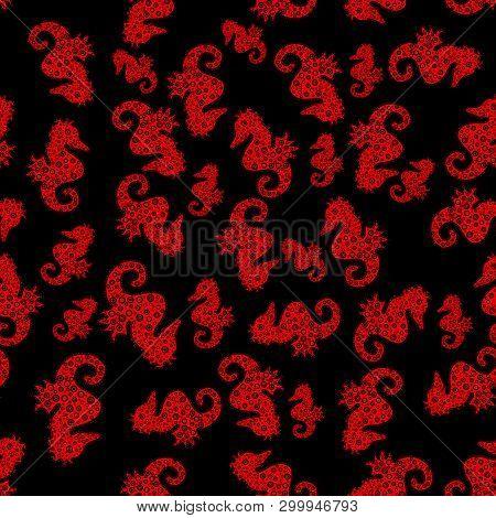 Doodle, Sketch, Scribble. Seahorse Seamless Background. Hippocampus Vector Cartoon Icon Set Of Under