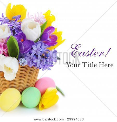 spring flowers with easter eggs on white isolated background